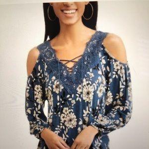 XL Time and Tru Blue Floral Cold Shoulder Top
